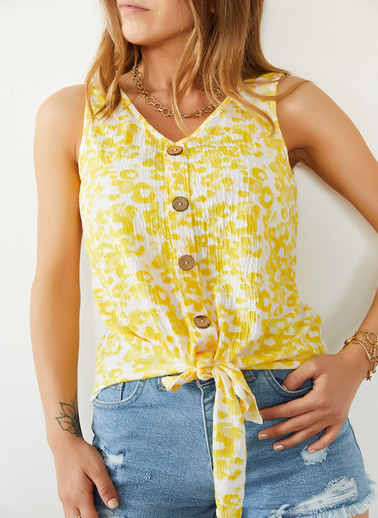 XHAN Sarı Önü Bağlamalı Askılı Bluz 0Yxk2-43930-10 Sarı